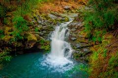 Schöne Ansicht im Freien des Wasserfalls bei Pucon, Chile lizenzfreie stockfotos