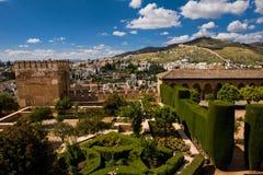 Schöne Ansicht vom Alhambra-Palast in Granada Stockfoto