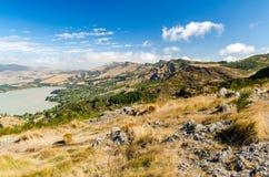 Schöne Ansicht vom Hügel in Christchurch Stockbild