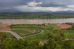 Schöne Ansicht vom Mekong vom Tempel Stockbilder