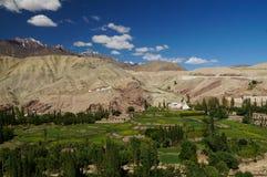 Schöne Ansicht von Basgo-Kloster in Ladakh, Indien stockfotografie