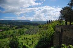Schöne Ansicht von Feldern in Toskana, Italien Stockfotografie