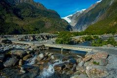 Schöne Ansicht von Franz Josef Glacier in Nationalpark Westland auf der Westküste von Südinsel in Neuseeland Stockbilder
