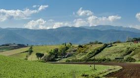 Schöne Ansicht von Grünfeldern und -wiesen bei Sonnenuntergang in Toskana stockfoto