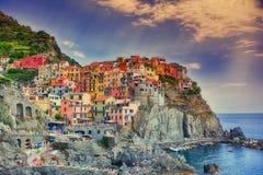 Schöne Ansicht von Manarola-Stadt, Cinque Terre, Ligurien, Italien Stockbild