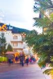 Schöne Ansicht von Ortisei-Straßen im Weihnachten Dolomiti-Alpen, Italien Stockfotos