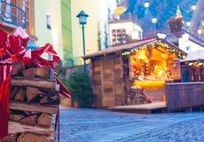 Schöne Ansicht von Ortisei-Straßen im Weihnachten Dolomiti-Alpen, Italien Lizenzfreie Stockfotografie