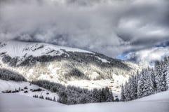 Schöne Ansicht zu Winter Schweizer Alpen, Berner Oberland, Adelboden Stockbilder