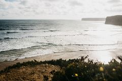 Schöne Ansichten des Atlantiks und Küstender klippen und der Anlagen lizenzfreie stockfotografie