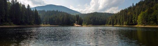 Schöne Ansichten des Gebirgssees und der Berge bedeckt mit Wald im Sommer Populäre Touristenattraktion lizenzfreies stockfoto