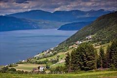 Schöne Ansichten vom Berg zum Fjord, zu den Bergen und zur Inspektion Stockbild