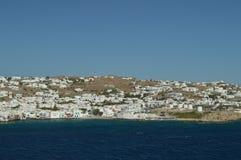 Schöne Ansichten vom Hohen See der Stadt von Chora auf der Insel von Mykonos Art History Architecture Stockfoto