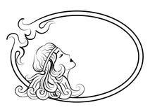 Schöne antike Frau im Rahmen Stockfoto