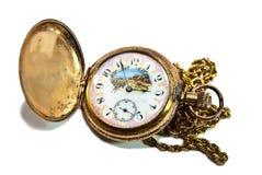 Schöne antike Taschen-Uhr Stockbilder