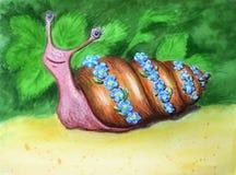 Schöne Aquarellschnecke in einem Blumenkranz Lustiger komischer lächelnder Charakter auf grünem Sommerhintergrund lizenzfreie abbildung