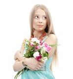 Schöne Art und Weisefrau mit Blumen Stockbilder