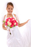 Schöne asiatische Braut an der Hochzeit Stockbilder