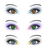 Schöne Augen-Retro Art-Make-up Stockfotografie
