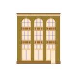 Schöne ausführliche lineare Stadtbildsammlung mit Stadtwohnungen Kleinstadtstraße mit Victoriangebäudefassaden Lizenzfreies Stockbild