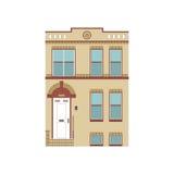 Schöne ausführliche lineare Stadtbildsammlung mit Stadtwohnungen Kleinstadtstraße mit Victoriangebäudefassaden Stockfoto