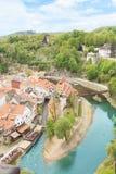 Schöne Aussicht der historischen Mitte von Cesky Krumlov, Tschechische Republik Stockfotografie