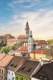 Schöne Aussicht der historischen Mitte von Cesky Krumlov, Tschechische Republik Stockbild