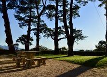 Schöne Aussicht eines Steinpicknicks in der Natur stockbilder