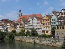 Schöne Aussicht von Tuebingen auf dem Neckar, Deutschland stockfotografie