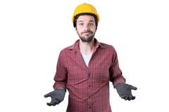 Schöne bärtige Mannarbeitskraft Stockfoto