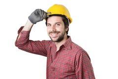 Schöne bärtige Mannarbeitskraft Lizenzfreies Stockbild