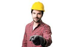 Schöne bärtige Mannarbeitskraft Lizenzfreie Stockbilder
