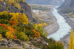 Schöne Bäume und Fluss in Nord-Pakistan Stockfoto