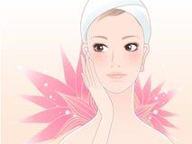 Schöne Badekurortfrau mit Lotos Stockbilder