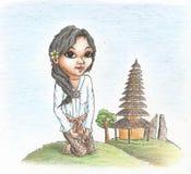 Schöne Balinese-Mädchenfarbbleistifte gezeichnet vektor abbildung