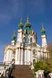 Schöne barocke St- Andrew` s Kirche Kiew, Ukraine stockbild
