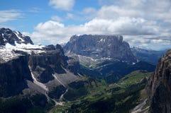 Schöne Berglandschaft in den Dolomit/in der sella Gruppe und in der sassolungo Gruppe in gardena Tal Lizenzfreie Stockbilder
