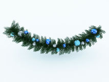 Schöne blaue Feiertagsdekorationen und Teilkranz Stockfoto