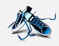 Schöne blaue Paare Turnschuhe Stockbilder