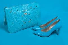 Schöne blaue Schuhe und Handtasche Stockfoto