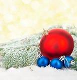 Schöne blaue und rote Weihnachtsbälle auf eisigem Tannenbaum Eine Abbildung einer blauen Blumenverzierung mit Schatten Lizenzfreie Stockfotos