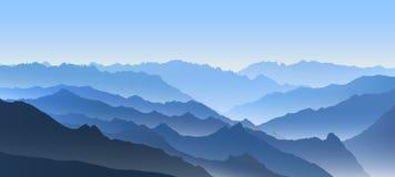 Schöne blaue Vektorlandschaft mit einem curvy Tal in Himalaja-Bergen stock abbildung