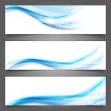 Schöne blaue Welle der abstrakten Vektorgeschäftshintergrund-Fahne Stockbild