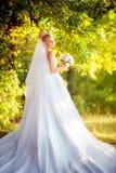 Schöne blonde Braut im weißen Kleid Stockfotografie