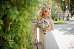 Schöne blonde Braut kleidete in einem reizenden Kleid an Stockfoto