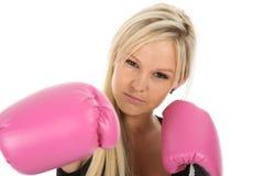 Schöne blonde Dame Boxer Stockfoto