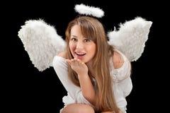 Schöne blonde Engelsfrau Lizenzfreie Stockbilder