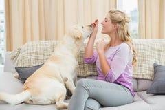 Schöne blonde Entspannung auf der Couch mit Schoßhund Stockbild