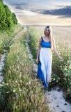 Schöne blonde Frau auf einem Weg auf einem Weizengebiet Lizenzfreie Stockfotografie
