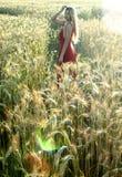 Schöne blonde Frau auf einem Weizengebiet bei Sonnenuntergang Stockfotografie