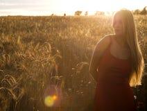 Schöne blonde Frau auf einem Weizengebiet bei Sonnenuntergang Lizenzfreie Stockfotografie
